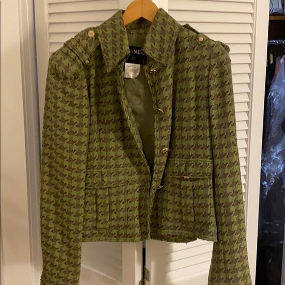 Green tweed Chanel jacket